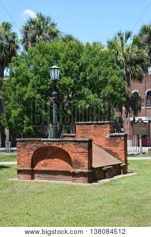 SAVANNAH GEORGIA USA JUNE 26 2016: Colonial Park Cemetery has been closed to interments since 1853 and is the oldest intact municipal cemetery in Savannah.