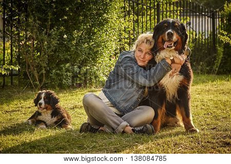 Woman With Her Dogs