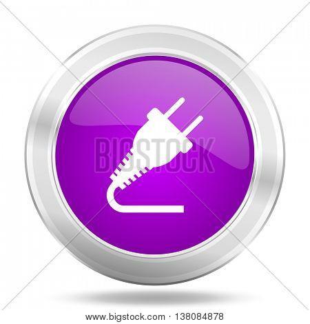 plug round glossy pink silver metallic icon, modern design web element