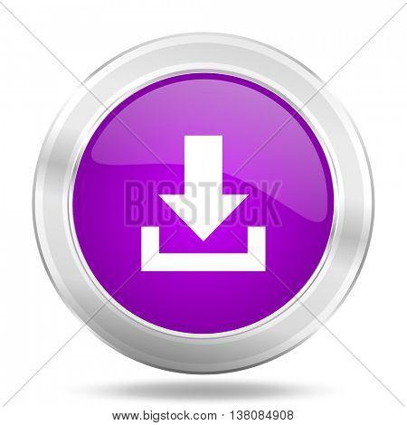 download round glossy pink silver metallic icon, modern design web element