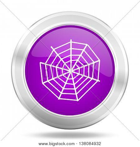spider web round glossy pink silver metallic icon, modern design web element