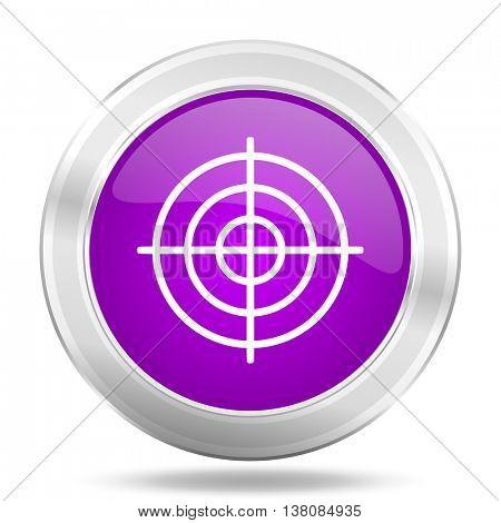 target round glossy pink silver metallic icon, modern design web element
