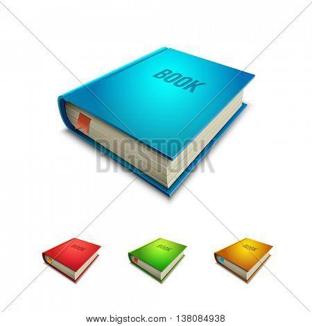 Vector hardcover book icon set.