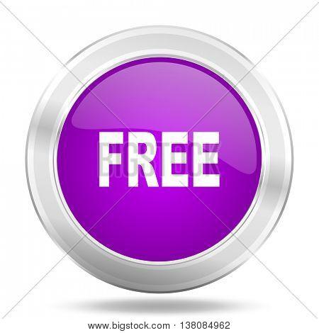 free round glossy pink silver metallic icon, modern design web element