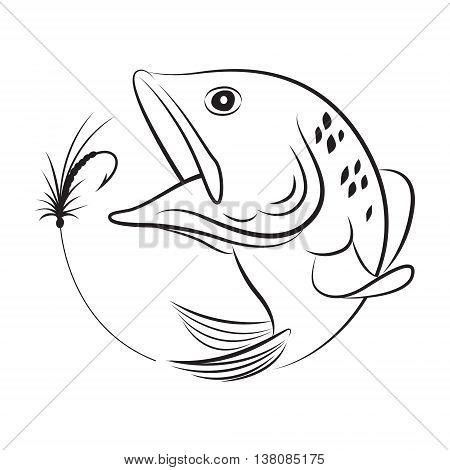 clip art fishing symbol on white background, vector
