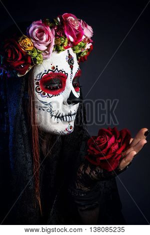 Sugar Skull Makeup Girl With Rose