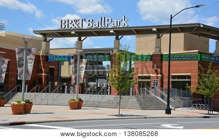 CHARLOTTE SOUTH CAROLINA 06 24 2016: BB&T BallPark is a baseball stadium. The Uptown-area stadium hosts the Charlotte Knights, a Triple-A minor league baseball team in the International League.