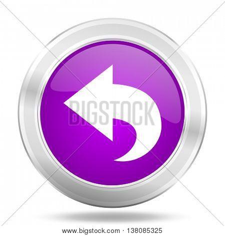 back round glossy pink silver metallic icon, modern design web element