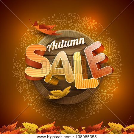 Vector 3d autumn sale design with wood background and leaf icon frame.
