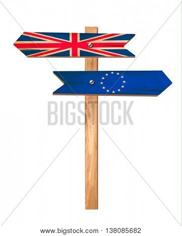 Two wooden signs - UK and EU. Brexit concept. Vector.