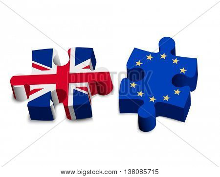 Two puzzle pieces - UK and EU. Brexit concept. Vector.