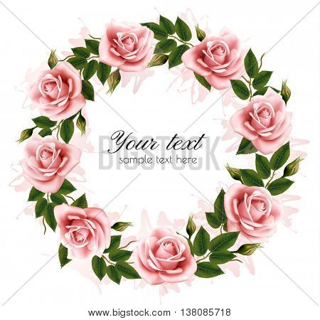 Beautiful rose wreath. Vector.