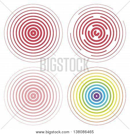 Vector set of radar screen concentric circle elements. Vector illustration for sound wave. Circle spin target. Concept radio station signal. Center minimal radial ripple line outline abstraction.