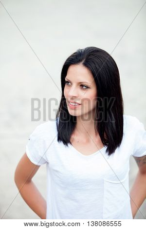 Cool young woman during a photo shoot on the street