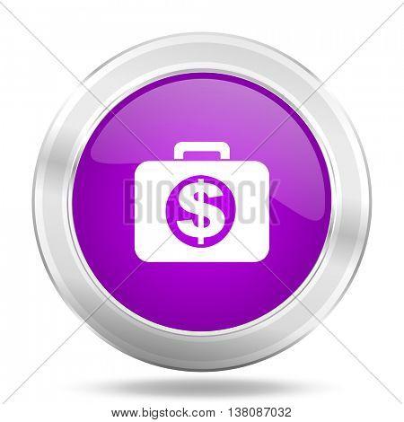 financial round glossy pink silver metallic icon, modern design web element