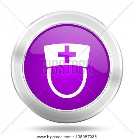 nurse round glossy pink silver metallic icon, modern design web element