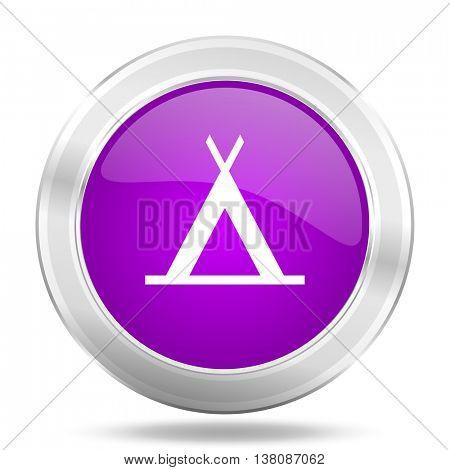 camp round glossy pink silver metallic icon, modern design web element