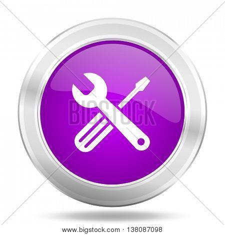 tools round glossy pink silver metallic icon, modern design web element