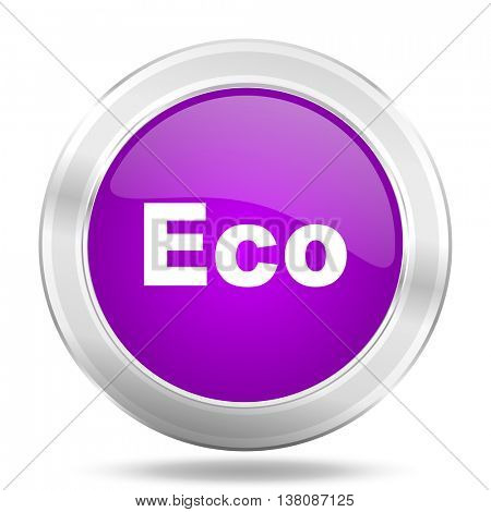 eco round glossy pink silver metallic icon, modern design web element