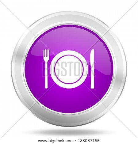 restaurant round glossy pink silver metallic icon, modern design web element