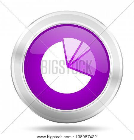 diagram round glossy pink silver metallic icon, modern design web element