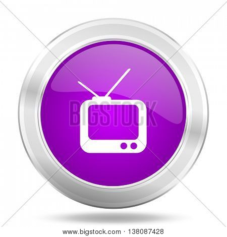 tv round glossy pink silver metallic icon, modern design web element