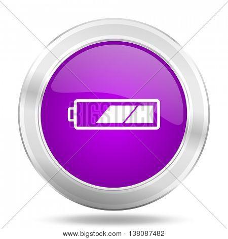 battery round glossy pink silver metallic icon, modern design web element
