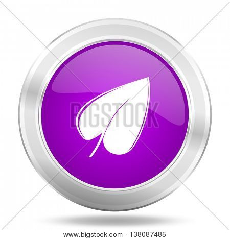 leaf round glossy pink silver metallic icon, modern design web element