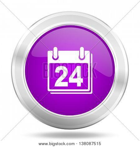 calendar round glossy pink silver metallic icon, modern design web element