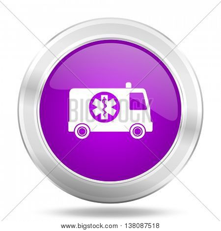 ambulance round glossy pink silver metallic icon, modern design web element