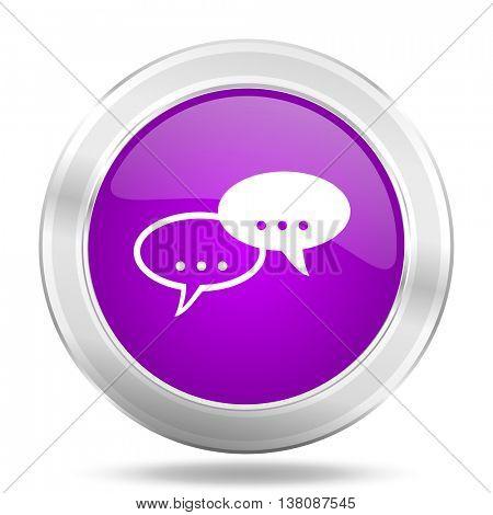 forum round glossy pink silver metallic icon, modern design web element