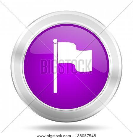 flag round glossy pink silver metallic icon, modern design web element