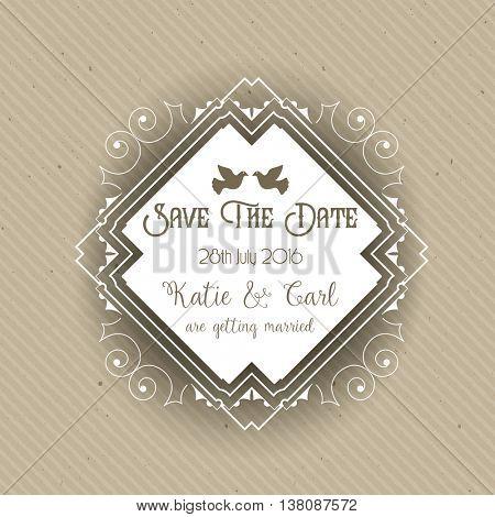 Vintage save the date invite design