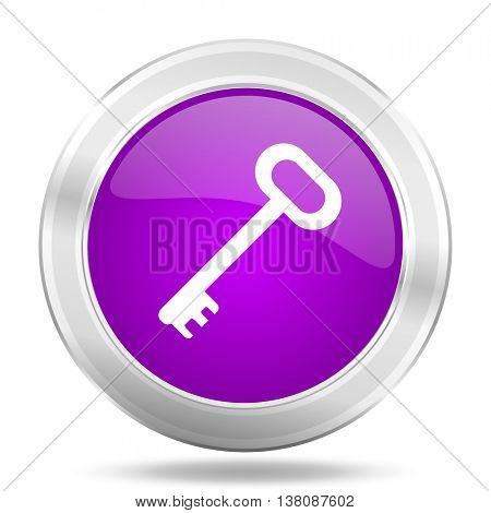key round glossy pink silver metallic icon, modern design web element