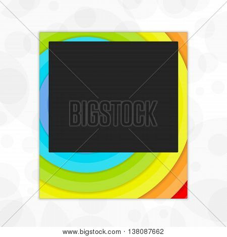 Vector template of a photo frame in flowers of a rainbow. Universal template of a frame for the photo in bright paints.