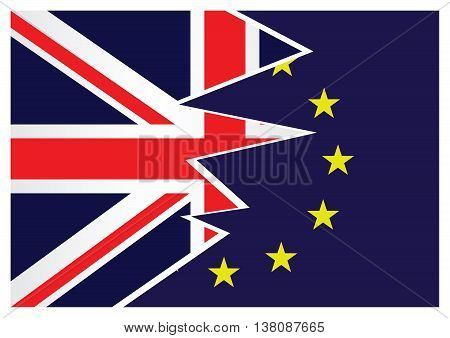 United Kingdom exit from the European Union resulting from the June 2016 referendum with the Union Jack and European Union flags splitting apart