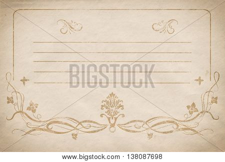 Old dirty paper background with vintage floral frame. Old-fashioned floral card design.