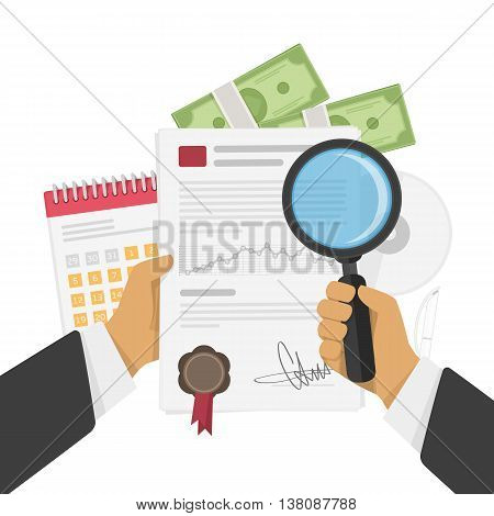 Paper sheet with a magnifying glass in the businessman hands. Vector illustration big data analysis, seo analytics, financial research report. Business analysis. Illustration in flat style.
