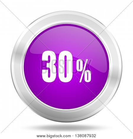 30 percent round glossy pink silver metallic icon, modern design web element