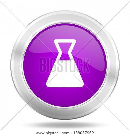 laboratory round glossy pink silver metallic icon, modern design web element