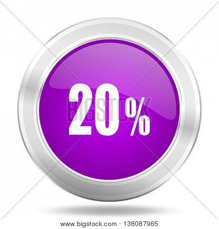 20 percent round glossy pink silver metallic icon, modern design web element