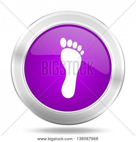 foot round glossy pink silver metallic icon, modern design web element