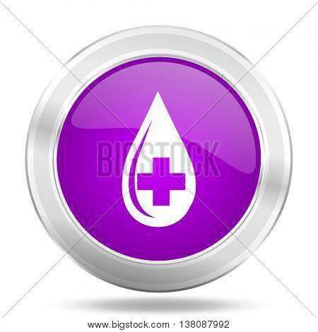 blood round glossy pink silver metallic icon, modern design web element