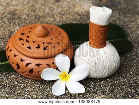 Spa massage compress balls, herbal ball with flower, Thailand