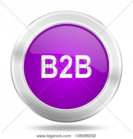 b2b round glossy pink silver metallic icon, modern design web element