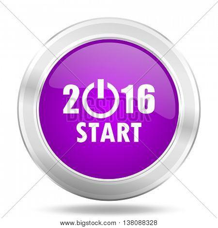 year 2016 round glossy pink silver metallic icon, modern design web element