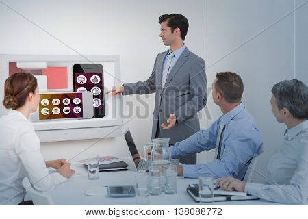 App account for smartphone against businessman pointing the white screen