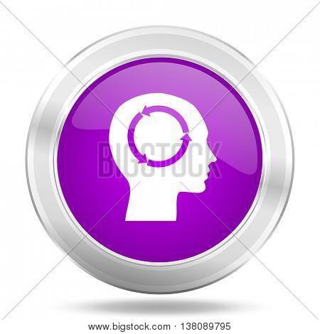 head round glossy pink silver metallic icon, modern design web element