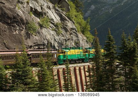 SKAGWAY ALASKA USA - JULY 5 2011: Railroad on White Pass and Yukon Route in Skagway Alaska
