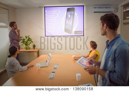 Ad for a new application against creative business team making presentation